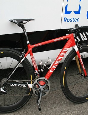 Luca Paolini's (Katusha) spare bike was a bright red Ultimate CF SLX