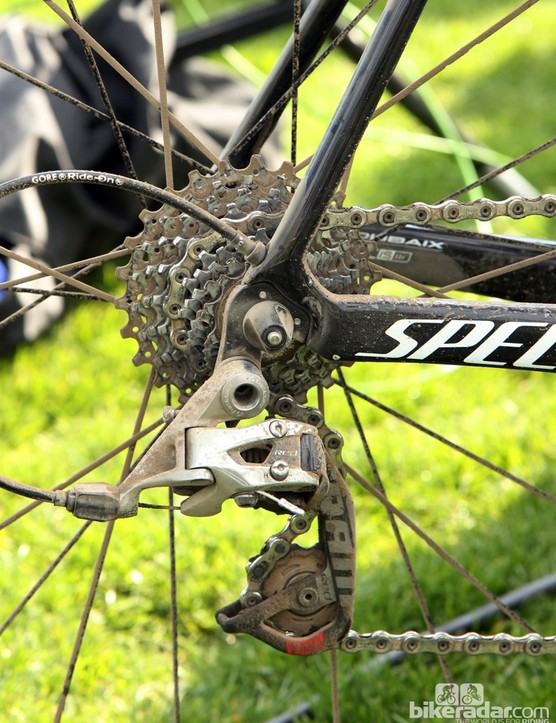 Niki Terpstra's (Omega Pharma-QuickStep) SRAM Red 22 rear derailleur is covered with dust and grime right after winning Paris-Roubaix