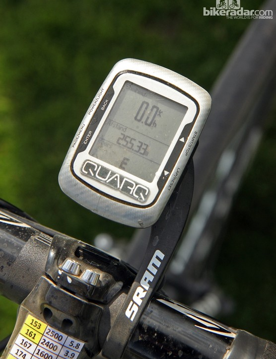 Niki Terpstra's (Omega Pharma-QuickStep) Garmin Edge 500 computer displays just a few pieces of key information