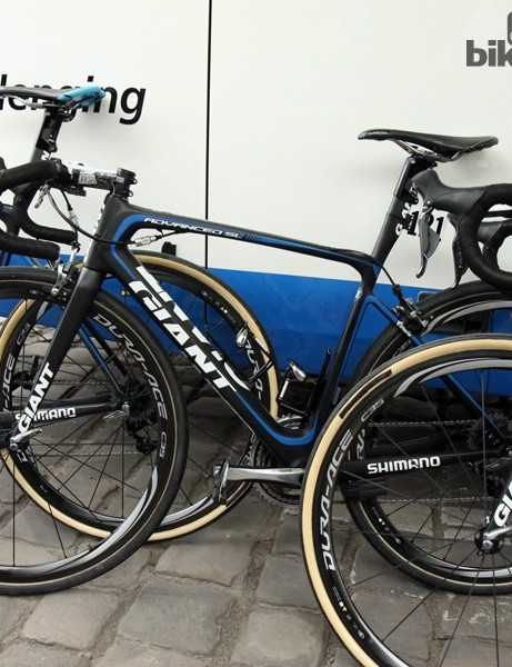 John Degenkolb (Giant-Shimano) started Paris-Roubaix on this Giant Defy Advanced SL, complete with huge 30mm-wide Dugast tubulars