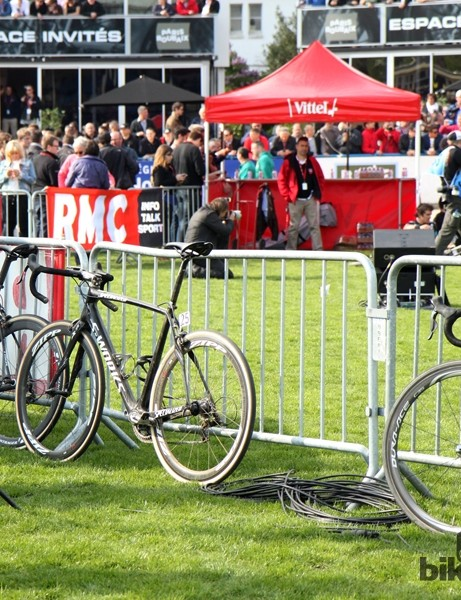 After an exceptionally long and hard day, the bikes of Fabian Cancellara (Trek Factory Racing, left), Niki Terpstra (Omega Pharma-QuickStep, center), and John Degenkolb (Giant-Shimano, right) can finally rest