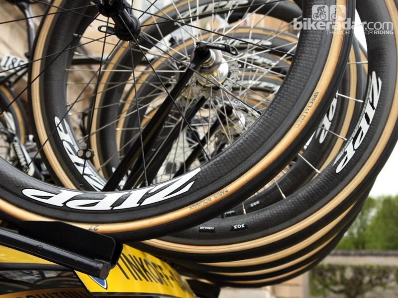 27mm-wide FMB Paris-Roubaix tubulars on Zipp 303 carbon wheels for Tinkoff-Saxo