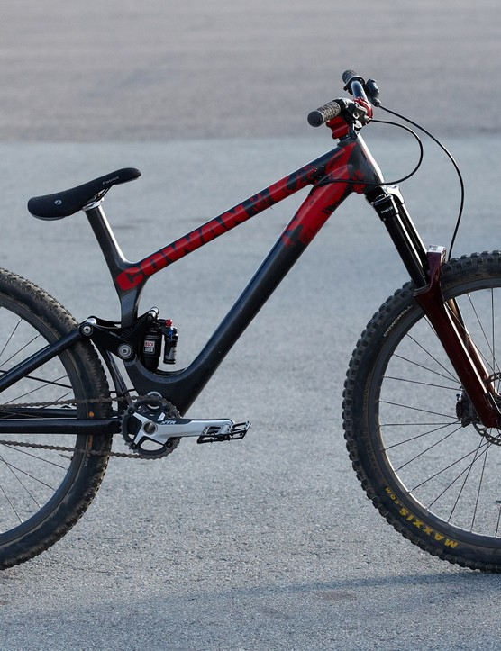 We caught John Cowan taking a spin on this beat-up prototype full suspension singlespeed frame