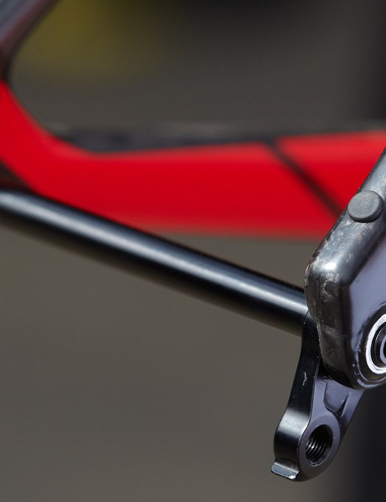 This intriguing rubber grommet at the rear of Felt's Nine FRD frame looks like something we'd expect to see on a top-end road bike transmission