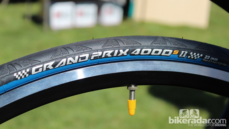 """The S designation on the venerable Grand Prix 4000 clincher designates an improved Black Chili rubber compound that Conti says is """"stickier, tougher, faster"""""""