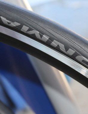 The Schwalbe Ironman TT/tri tyre features piping for a claimed aerodynamic benefit
