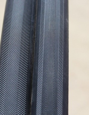 The thread patterns of the Vittoria Open Corsa CX, at left, with the Open Corsa SC, at right