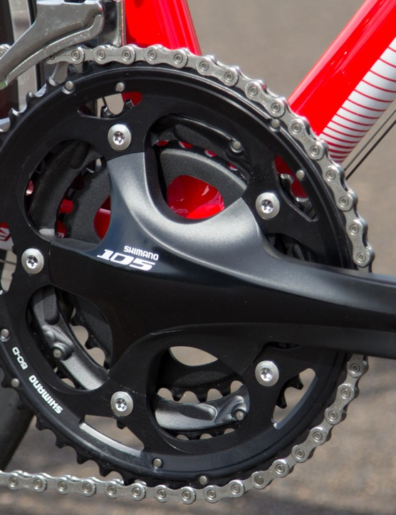 Shimano 105 cranks are great quality, but we can't help feel the triple ring is a dying concept