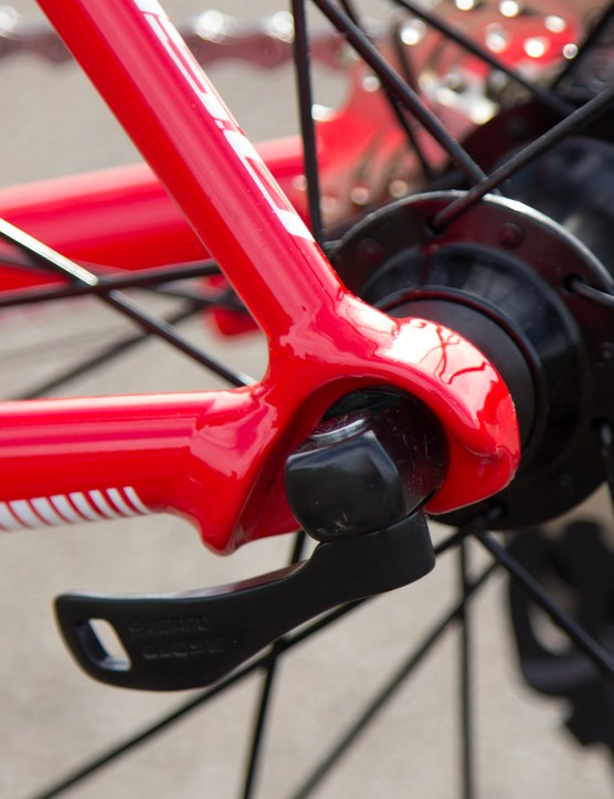 Part of the Shimano wheels are these quality skewers: night-and-day better than the non-branded skewers used on most bikes