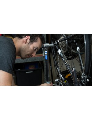 We then checked the alignment of the rear derailleur hanger. This is a replaceable part that connects the rear derailleur to the frame, it's made of a soft metal so that in the case of a crash, the cheap replaceable part bends, and not the frame. A bent hanger will often cause shifting issues – the Cell was the only one out of alignment