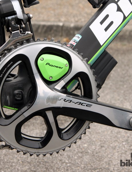 The Shimano Dura-Ace crankarms are fitted with Pioneer's latest power meter and 53/44-tooth chainrings