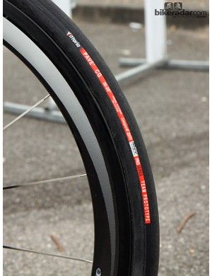 Belkin ran huge 30mm-wide Vittoria Pavé CG tubulars mounted to Shimano Dura-Ace 50mm-deep carbon wheels at Paris-Roubaix