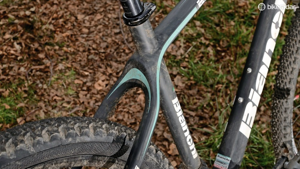 Skinny seatpost helps provide some comfort when aboard the stiff carbon fibre Ethanol
