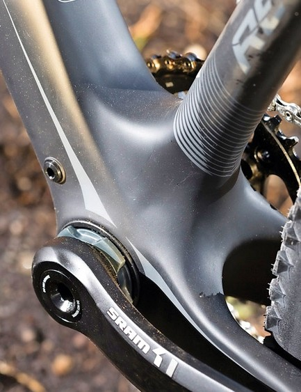 Oversized tubes and bottom bracket provide stiffness to the verge of brutality