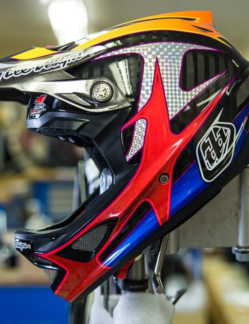 Aaron Gwin is off to a great start in the DH World Cup, and this helmet certain stands out from the crowd