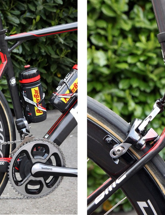 The uniquely shaped rear end on Greg Van Avermaet's (BMC) BMC GF01 provides some give on hard impacts but is still remarkably efficient in terms of power transfer