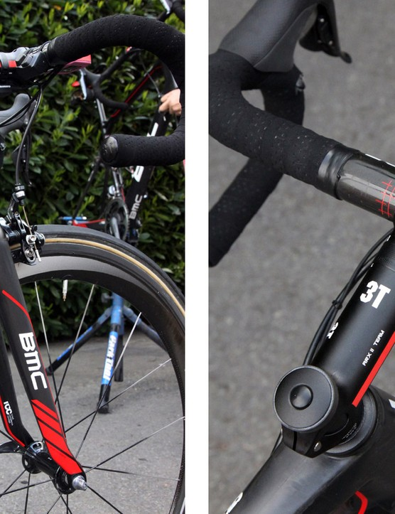 Greg Van Avermaet (BMC) uses a 130mm-long 3T ARX II Team stem, a 3T Rotundo Team carbon bar, two layers of fi'zi:k tape, an SRM PowerControl 7 computer, and both the sprinting and climbing satellite shifters on his Shimano Dura-Ace Di2 9000 setup. While certain elements of the BMC GF01 suggest softness, there's nothing fluffy about the enormous down tube or the huge tapered head tube