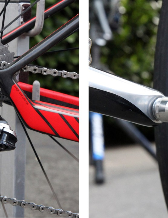 The exit point for the Shimano Dura-Ace Di2 wire is so close to the rear derailleur that there's no need for an additional zip tie to secure it in place. Greg Van Avermaet (BMC) ran a relatively tight 11-25T cassette on Sunday and put the power down through a set of carbon-bodied Dura-Ace pedals