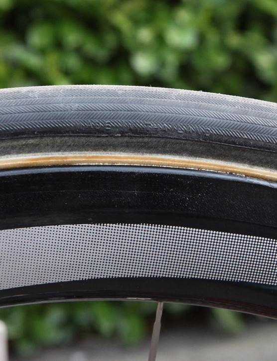 The handmade 27mm-wide tubular tires BMC used at Paris-Roubaix clearly aren't made by team sponsor Continental