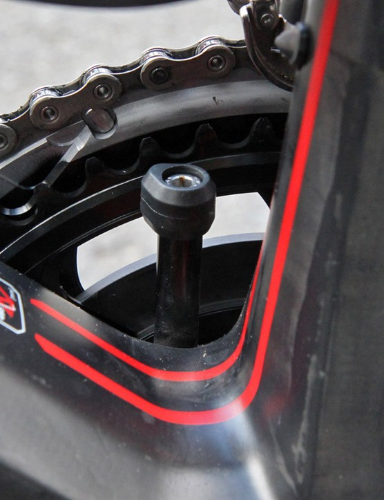 BMC makes several different post lengths for the GF01's integrated chain catcher but apparently Paris-Roubaix-specific 53/46T setups still fall a little too far outside the norm. This one looks a little low