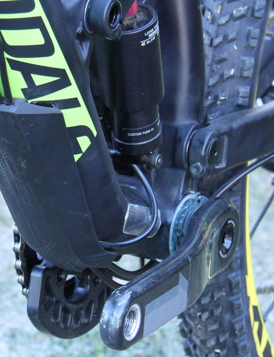 The downtube protector on Clementz Jekyll 27.5 carbon is quite substantial