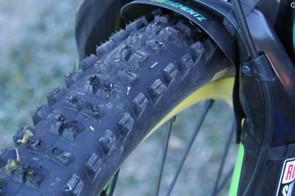 Upfront, Clementz runs the aggressive Mavic Crossmax Charge tire