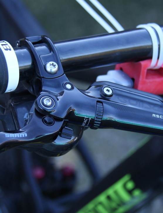 Clementz runs the new SRAM Guide RSC brakes with 180mm rotors