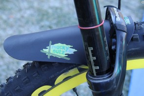 This Mucky Nutz front fender keeps a bit of spray off the enduro racer