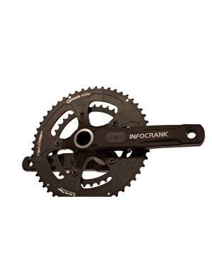 The InfoCrank will come with either 52/36 or 50/34 rings from Praxis