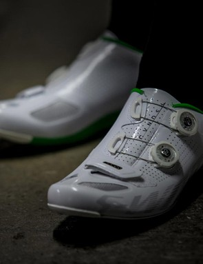 The standard S-Works shoe is one of the very best around; the CVNDSH editions feature green highlights and a white and green carbon sole. The S-Works CVNDSH shoe is priced at $400