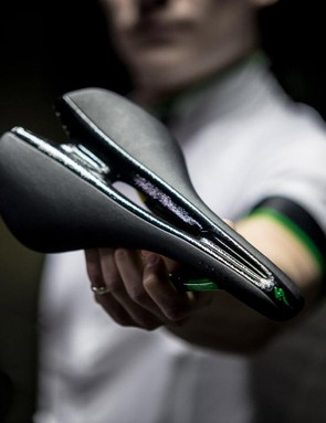 The carbon S-Works CVNDSH Toupé saddle is $300 and comes with matching green bar tape