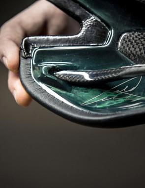 The carbon S-Works CVNDSH Toupé saddle features Cavendish's signature on the base
