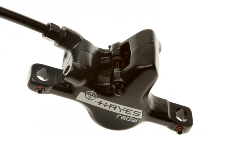 The Hayes Crosshair system uses the adjustment of two grub screws to quickly and easily install a perfectly aligned brake