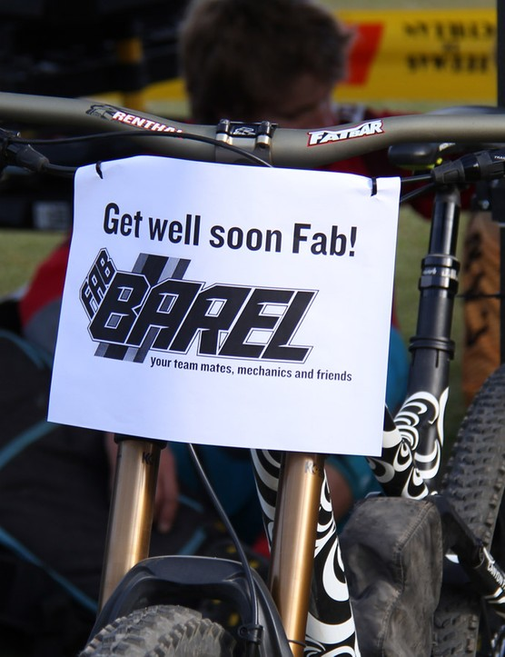 Canyon racer Fabien Barel had a bad crash during the first day of racing and fractured several vertebrae. He is expected to make a full recovery