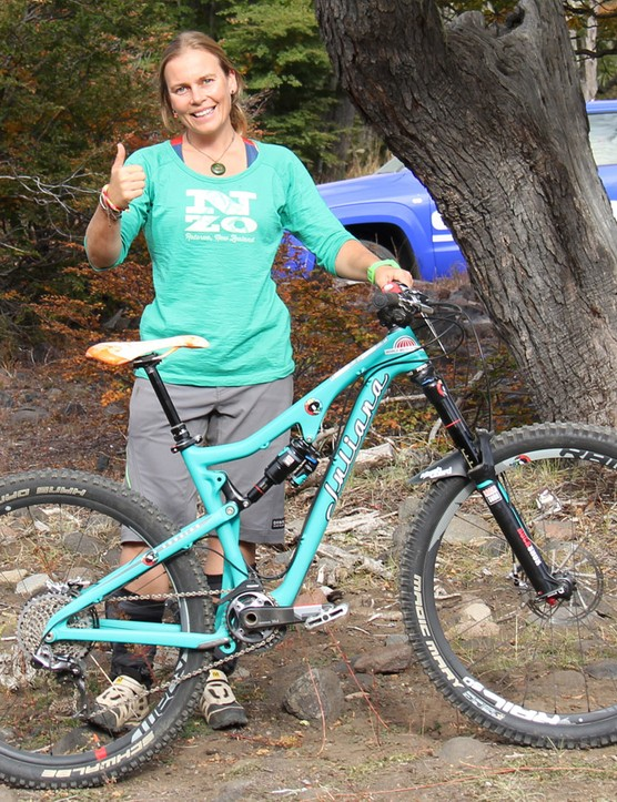 Enduro racer and mountain bike guide Anka Martin was racing aboard the new Juliana Roubion — essentially a feminized Santa Cruz Bronson. Martin finished in eighth place overall at Round #1 of the Enduro World Series