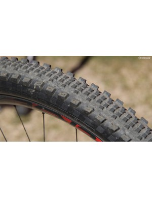 The Slaughter is a new fast rolling tire from Specialized with ample side knobs for predictable cornering. Expect to see many enduro racers running this in the rear
