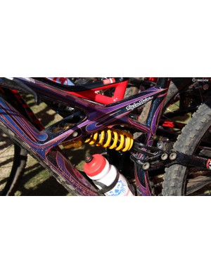Specialized product marketing specialist Sam Benedict was testing out this Öhlins shock on his colorful Enduro 29