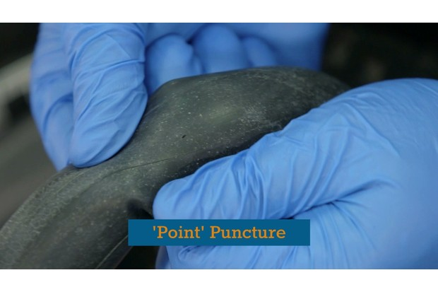 Regular or 'point' flats are caused by debris piercing the tread of the tire