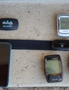 The Bluetooth Smart strap at left works with smartphones and more progressive computers such as the Garmin Edge 810. The ANT+ strap at right works with a wide variety of sport-specific devices, from running watches to cycling computers