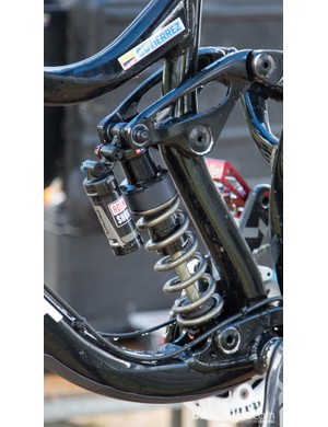 Marcelo Gutierrez Villegas' bike has some trick suspension modification - note the titanium spring held in by a rubber bumper/spacer and a whole lot of spring preload