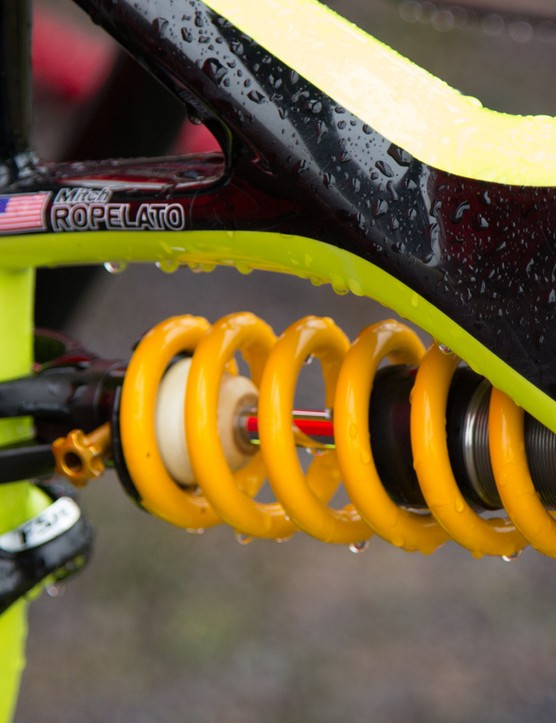 An Ohlins suspension shock for Ropelato's Specialized Enduro 29er had us drooling!
