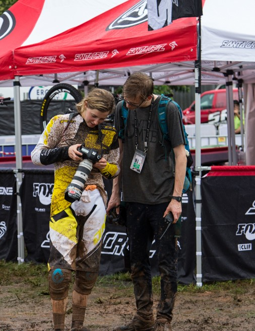 Rachel Atherton - the weekend's winner - checks whether she got the body slide in focus…