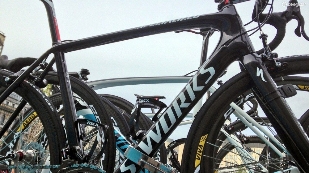 Spotted at Liège-Bastogne-Liège was Specialized's new S-Works Tarmac SL5, which will likely debut in two weeks or so