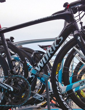 Vincenzo Nibali (Astana) not only raced at Liège-Bastogne-Liège on a new Specialized S-Works Tarmac SL5 but he had a spare one atop the team car, too