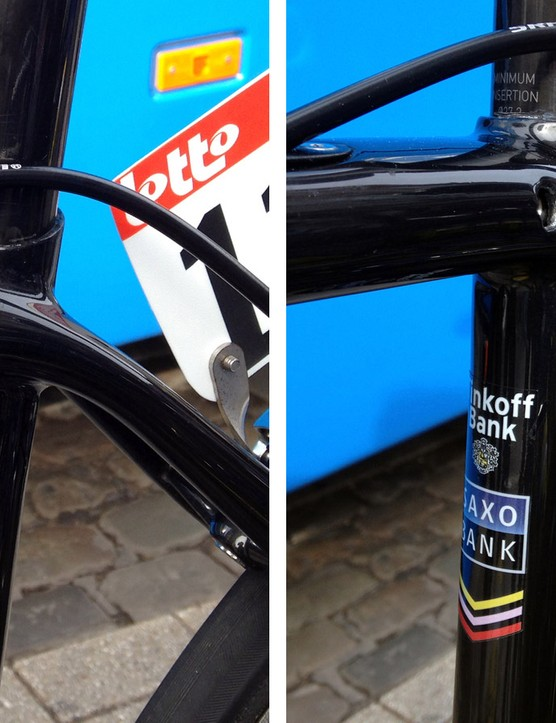 One of the key distinguising features on the new Specialized S-Works Tarmac SL5 is the hidden seatpost binder. The seat stays also have a bit more of a curved shape up top as opposed to the current SL4's straighter path
