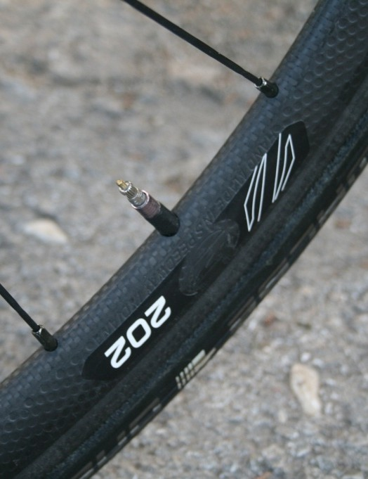 Kudus' Zipp 202 tubular wheels with Schwalbe 1 tyres are super light - perfect for the 11.5km climb to Elmali