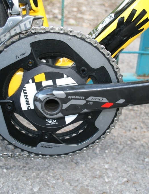 An SRM SRAM RED 22 Exogram crank handles Kudus' power output. He's using standard 53/39 chainrings