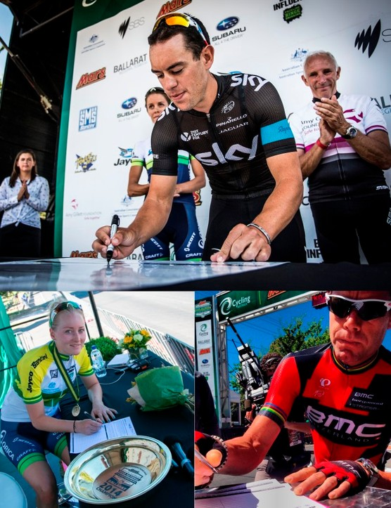 Gracie Elvin, Richie Porte and Cadel Evans all signed in support back at the Australian National Championships