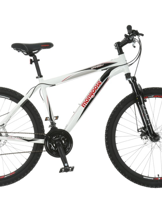 The Mongoose Vanish gets an 80mm suspension fork and mechanical disc brakes