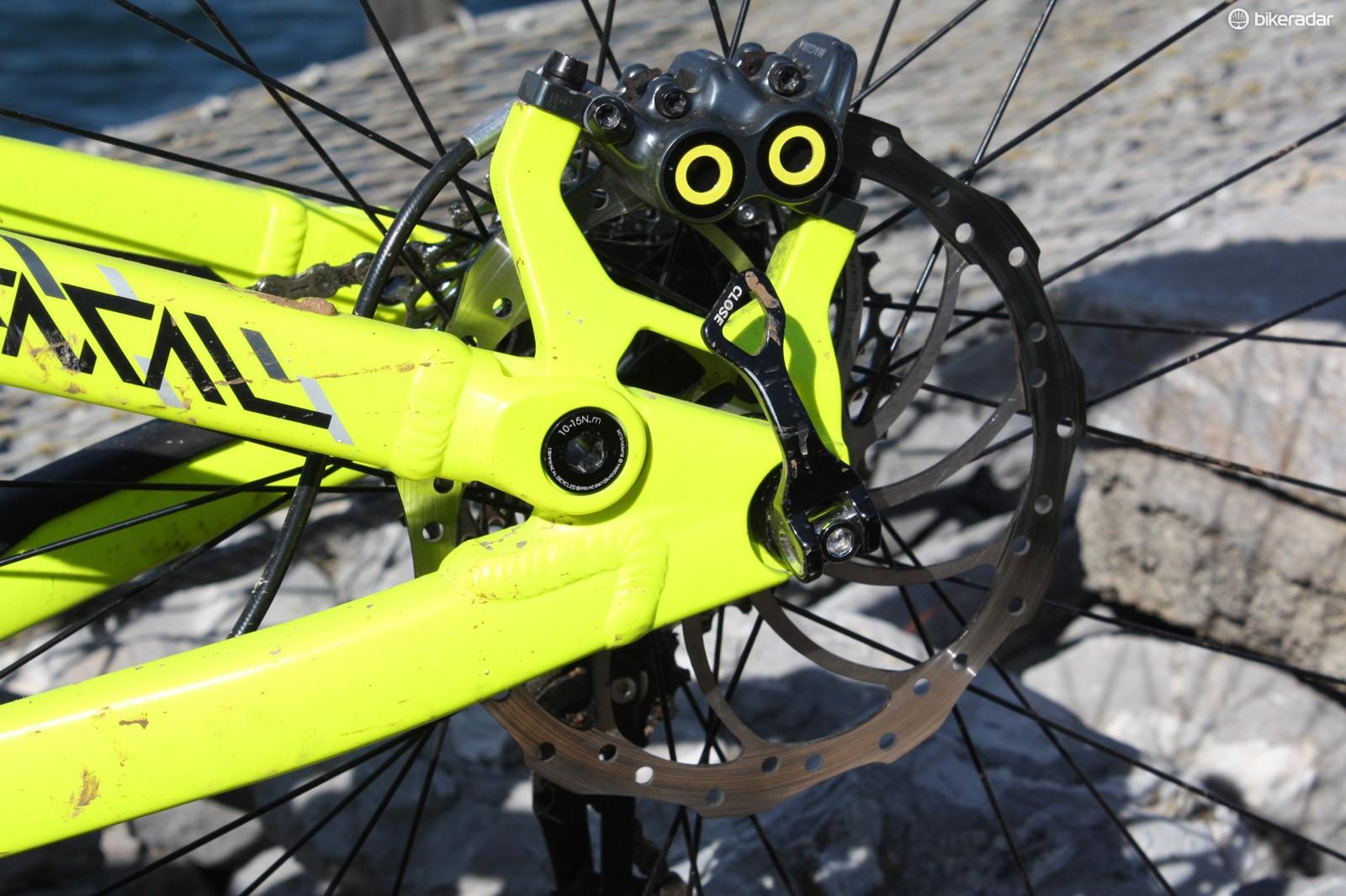 The rear caliper of Magura's new MT7 four-pot hydraulic disc brake